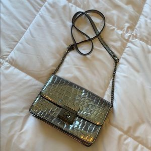 MILLY Silver Croc Embossed Crossbody Bag